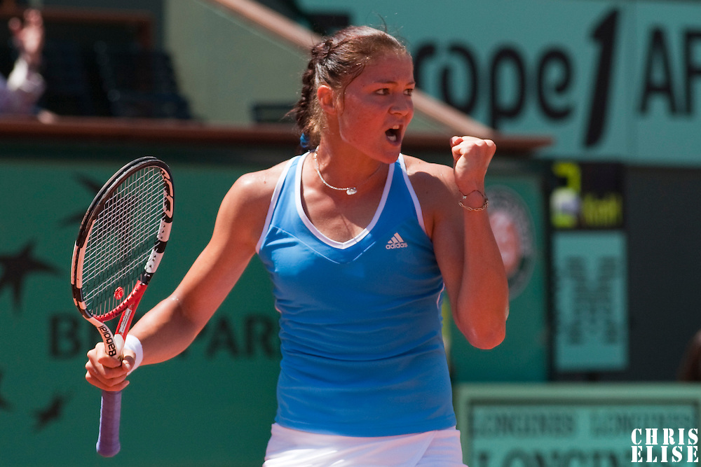 31 May 2009:  Dinara Safina of Russia celebrates during the Women's Singles fourth round match on day eight of the French Open at Roland Garros in Paris, France.