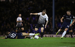 Jack Marriott of Peterborough United skips past Simon Cox of Southend United - Mandatory by-line: Joe Dent/JMP - 17/10/2017 - FOOTBALL - Roots Hall - Southend-on-Sea, England - Southend United v Peterborough United - Sky Bet League Two