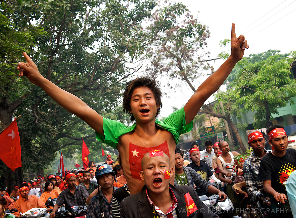 Joy burst in the streets. After years of repression people is entitled to manifest their happiness..Myanmar, 2012.