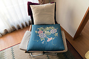 chair and cushion with Morning Glory flower design