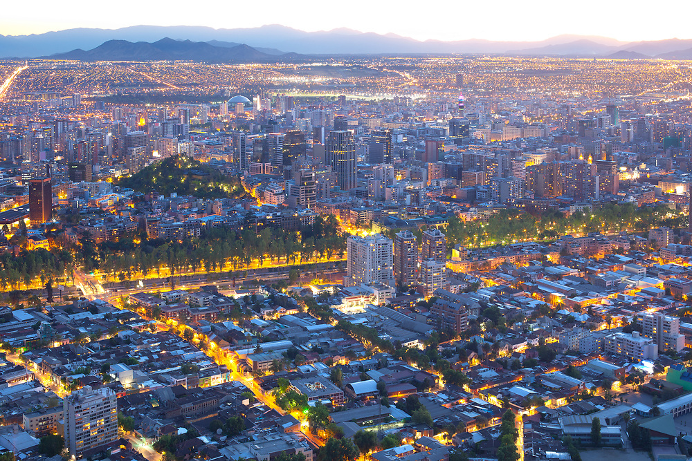 Panoramic view of downtown and Bellavista neighborhood on the foreground, Santiago, Chile