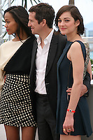 Actress Zoé Saldana, Director Guillaume Canet, Actress Marion Cotillard, at the Blood Ties film photocall at the Cannes Film Festival Monday 20th May 2013