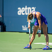 August 22, 2016, New Haven, Connecticut: <br /> Nicole Gibbs of the United States reacts during a match on Day 4 of the 2016 Connecticut Open at the Yale University Tennis Center on Monday August  22, 2016 in New Haven, Connecticut. <br /> (Photo by Billie Weiss/Connecticut Open)