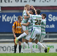 AJ Leitch-Smith (L) of Yeovil Town celebrates scoring to make it 3-1 during the Sky Bet League 1 match at the Coral Windows Stadium, Bradford<br /> Picture by Richard Land/Focus Images Ltd +44 7713 507003<br /> 06/09/2014