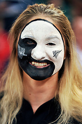 A New Zealand supporter in the crowd shows her colours - Mandatory byline: Patrick Khachfe/JMP - 07966 386802 - 02/10/2015 - RUGBY UNION - Millennium Stadium - Cardiff, Wales - New Zealand v Georgia - Rugby World Cup 2015 Pool C.