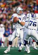 ORCHARD PARK, NY - NOVEMBER 22: Peyton Manning #18 of the Indianapolis Colts looks to pass the football against the Buffalo Bills at Ralph Wilson Stadium on November 22, 1998 in Orchard Park, New York. The Bills defeated the Colts 34-11. (Photo by Joe Robbins) *** Local Caption *** Peyton Manning