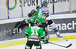 25.01.2015, Hala Tivoli, Ljubljana, SLO, EBEL, HDD Telemach Olimpija Ljubljana vs EHC Liwest Linz, 43. Runde, in picture Matic Podlipnik (HDD Telemach Olimpija, #92) and Mike Ouellette (EHC Liwest Linz, #28) during the Erste Bank Icehockey League 43. Round between HDD Telemach Olimpija Ljubljana and EHC Liwest Linz at the Hala Tivoli, Ljubljana, Slovenia on 2015/01/25. Photo by Vid Ponikvar / Sportida