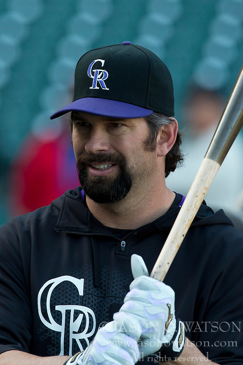 SAN FRANCISCO, CA - MAY 24: Todd Helton #17 of the Colorado Rockies holds a bat during batting practice before the game against the San Francisco Giants at AT&T Park on May 24, 2013 in San Francisco, California. The Colorado Rockies defeated the San Francisco Giants 5-0. (Photo by Jason O. Watson/Getty Images) *** Local Caption *** Todd Helton