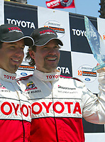 Apr 12, 2003; Long Beach, CA, USA; Pro Category Winner JEREMY McGRATH & overall race winner PETER RECKELL with his first place trophy @ the 27th Annual Pro/Celebrity Race in Long Beach racing Toyota Celica race cars.  Driving 10 laps on a 1.97 mile track along shoreline drive. <br />