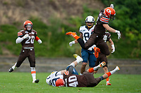 KELOWNA, BC - SEPTEMBER 8:   Garrett Cape #2 jumps over Liam Johnstone #40 of Okanagan Sun as he tackles Liam STEWART #83 of Langley Ramsat the Apple Bowl on September 8, 2019 in Kelowna, Canada. (Photo by Marissa Baecker/Shoot the Breeze)