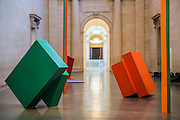 Phillip King's Call 1967, Painted steel. Phillip King exhibition at the Tate Britain, to mark his 80th birthday. The display celebrates King's significant contribution to late 20th century sculpture through six colourful sculptures. These are his key works from the 1960s and include a variety of unusual shapes and forms, demonstrate King's experimentation with abstraction, construction, material and colour. They include iconic sculptures such as Genghis Khan 1963, a conical structure with a pair of antler-like forms and Rosebud 1962, his first coloured sculpture using fibreglass. The works are displayed in the grand surroundings of the Duveen galleries at Tate Britain.