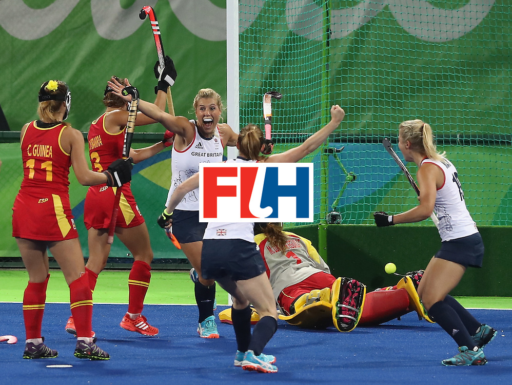 RIO DE JANEIRO, BRAZIL - AUGUST 15:  Georgie Twigg of Great Britain turns and celebrates after scoring the first goal during the Women's quarter final hockey match between Great Britain and Spain on Day10 of the Rio 2016 Olympic Games held at the Olympic Hockey Centre on August 15, 2016 in Rio de Janeiro, Brazil.  (Photo by David Rogers/Getty Images)