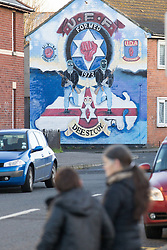 © Licensed to London News Pictures . 09/01/2013 . Belfast , UK . UFF Mural as seen from the Newtownards Road in East Belfast today (9th January 2013) . Photo credit : Joel Goodman/LNP