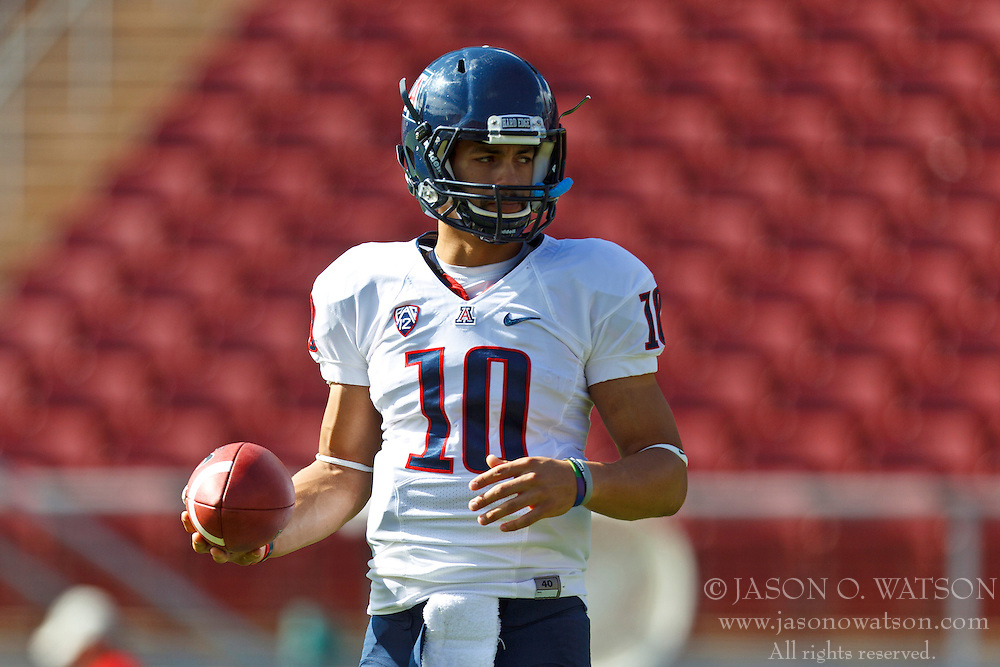 PALO ALTO, CA - OCTOBER 06: Quarterback Matt Scott #10 of the Arizona Wildcats warms up before the game against the Stanford Cardinal at Stanford Stadium on October 6, 2012 in Palo Alto, California. The Stanford Cardinal defeated the Arizona Wildcats 54-48 in overtime. (Photo by Jason O. Watson/Getty Images) *** Local Caption *** Matt Scott