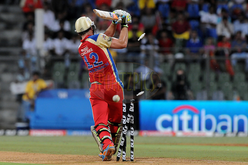 Luke Pomersbach of Royal Challengers Bangalore gets bowled out during the Qualifier 1 match of the Indian Premier League ( IPL ) Season 4 between the Royal Challengers Bangalore and the Chennai Superkings held at the Wankhede Stadium, Mumbai, India on the 24th May 2011..Photo by PalPillai/BCCI/SPORTZPICS.