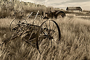 Old farm machinery, Baljennie, Saskatchewan, Canada
