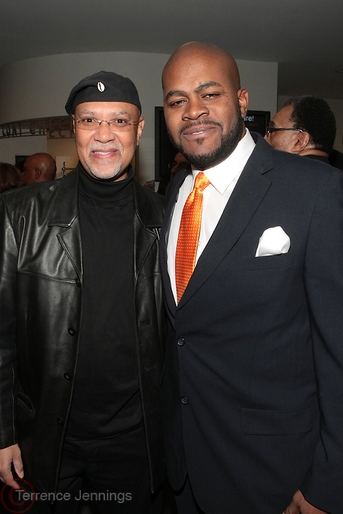 "November 14, 2012- Harlem, New York City: (L-R) Director Warrington Hudlin and Producer NJ Frank at Actress Ruby Dee's 90th Birthday Celebration and special excerpt screening of new Documentary "" Life's Essentials with Ruby Dee "" by Muta' Ali, grandson of Actress/Civil Rights Activist Ruby Dee and Actor Ossie Davis held at The Schomburg Center on November 14, 2012 in Harlem, New York City. The Film follows Muta' Ali quests for (Ruby Dee & Ossie Davis) their secrets to love, art, and activism. (Terrence Jennings) ."
