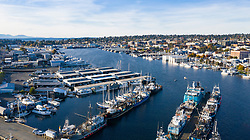 United States, Washington, Seattle.  Fishermen's Terminal (aerial view)