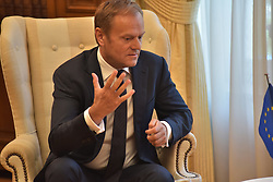 April 5, 2017 - Athens, Attiki, Greece - President of European Parliament Donald Tusk during the meeting with the Greek Prime Minister Alexis Tsipras. (Credit Image: © Dimitrios Karvountzis/Pacific Press via ZUMA Wire)