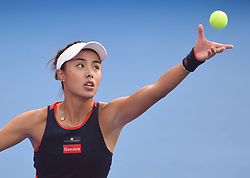 HONG KONG, Oct. 13, 2018  Wang Qiang of China serves during the women's singles semifinal match against Garbine Muguruza of Spain at 2018 WTA Hong Kong Tennis Open in Hong Kong, south China, Oct. 13, 2018. Wang Qiang won 2-1. (Credit Image: © Lo Ping Fai/Xinhua via ZUMA Wire)