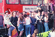 Ravers dancing on top of truck at the First Criminal Justice March, Trafalgar Square,London,UK, 1st of May 1994.