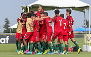 Portugal celebrates the first goal of the game by midfielder Diogo Prioste (8) during a CONCACAF boys under-15 championship soccer game, Sunday, August 11, 2019, in Bradenton, Fla. Portugal defeated Slovenia in the final in 2-0. (Kim Hukari/Image of Sport)