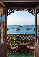 ocean seascape from a balcony room window Stone Town in Unguja aka Zanzibar Island Tanzania East Africa