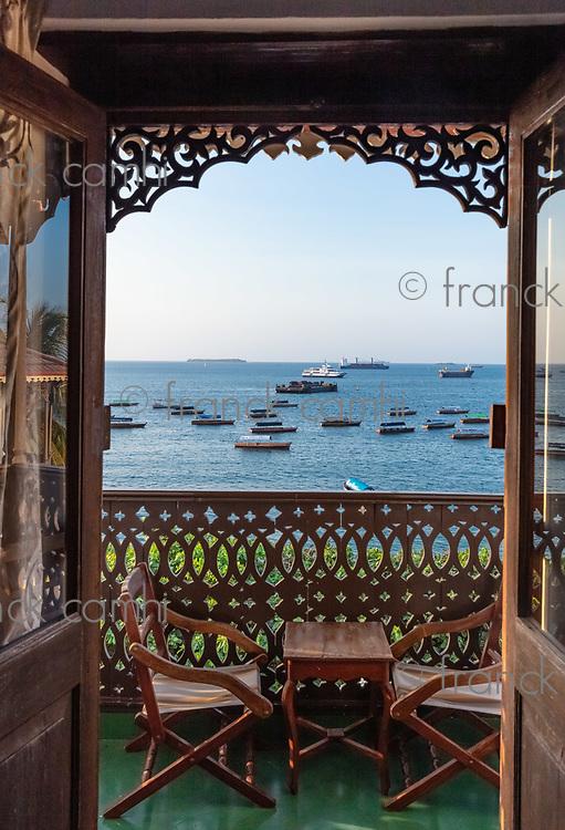 ocean seascape from a balcony room window Stone Town in Unguja aka Zanzibar Island Tanzania East Africa