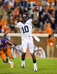 November 21, 2009; Clemson, SC, USA; Virginia Cavaliers quarterback Jameel Sewell (10) throws during the fourth quarter against the Clemson Tigers at Memorial Stadium.  Clemson defeated Virginia 34-21.