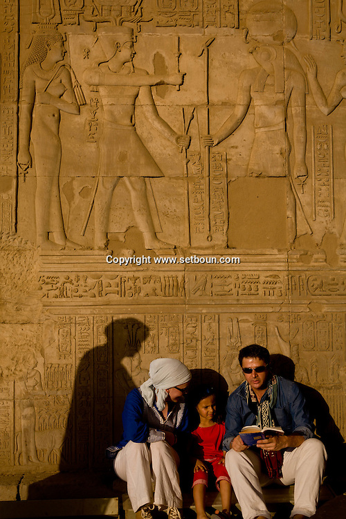 Egypt. Louxor - Kom Ombo temple  .the Temple, dating to the Ptolemies, is built on a high dune overlooking the Nile. The actual temple was started by Ptolemy VI Philometor in the early second century BC.  Ptolemy XIII built the outer and inner hypostyle halls.   Kom Ombo  Egypt    /  le temple de Kom Ombo  . dedie à Sobek le crocodile et Haroeris .  Kom Ombo  Egypte   /  L0056030