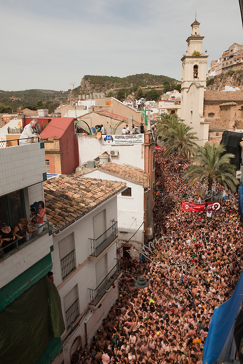 August 31, 2011. An estimated 35,000 people packed the streets of Buñol during the tomatina, the world's biggest tomato fight held annually the last Wednesday of August in the Spanish town of Buñol, Valencia, Spain.