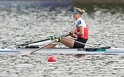 Belarus' Alena Furman celebrates gold after crossing the finish line in the Lightweight Women's Single Sculls Final during day four of the 2018 European Championships at Strathclyde Country Park, North Lanarkshire.