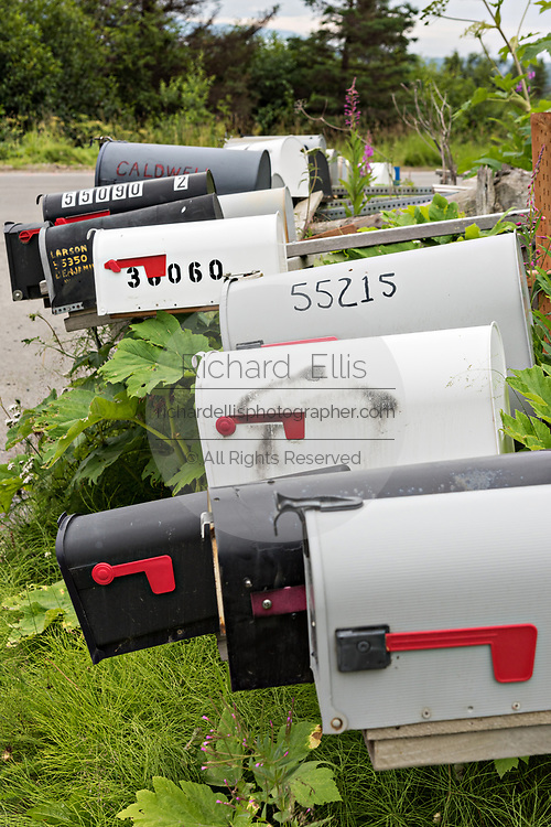 Rural mailboxes line a street corner in remote Fritz Creek, Alaska.