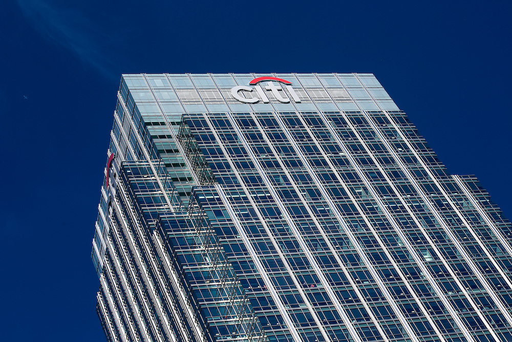 The headquarters of Citibank at Canary Wharf in the financial heart of London pictured against a clear blue sky