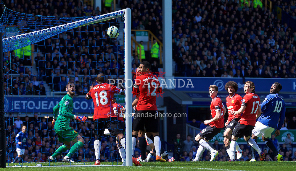 LIVERPOOL, ENGLAND - Sunday, April 26, 2015: Everton's John Stones [hidden] scores the second goal against Manchester United during the Premier League match at Goodison Park. (Pic by David Rawcliffe/Propaganda)