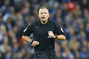 Referee Jon Moss during the Carabao Cup Final match between Chelsea and Manchester City at Wembley Stadium, London, England on 24 February 2019.