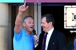 Burnley's Paul Robinson celebrates whilst talking with Alastair Campbell- Mandatory by-line: Matt McNulty/JMP - 09/05/2016 - FOOTBALL - Burnley Town Hall - Burnley, England - Burnley FC Championship Trophy Presentation