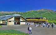 Alaska. Railroad depot at Denali National Park.