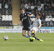 St Mirren's Kenny McLean tackles Dundee's Paul McGinn - St Mirren v Dundee, SPFL Premiership at St Mirren Park<br /> <br />  - &copy; David Young - www.davidyoungphoto.co.uk - email: davidyoungphoto@gmail.com