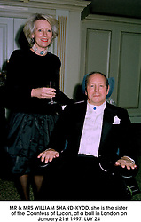 MR & MRS WILLIAM SHAND-KYDD, she is the sister of the Countess of Lucan, at a ball in London on January 21st 1997.LUY 24