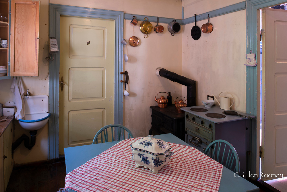 A kitchen in one of the historic houses in Agatunet, a heritage village in Aga, Vestlandet, Norway