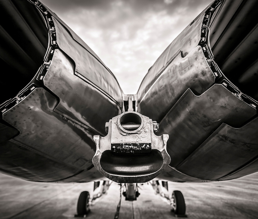 Exhaust and arresting hook of a Blue Angels F-18 Super Hornet.