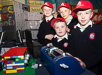 Michael Brosnan, Bel Clarke, Eoin O&rsquo;Connor, Mathew Friel from  Scoil Einde NS Salthill who made a functioning Brail machine from lego at the annual Junior FIRST Lego League run by Galway Education Centre, in the Radisson blu Hotel.  Photo:Andrew Downes<br />  Photo:Andrew Downes, XPOSURE