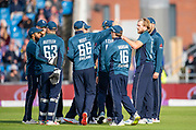 Picture by Allan McKenzie/SWpix.com - 19/05/2019 - Sport - Cricket - 5th Royal London One Day International - England v Pakistan - Emerald Headingley Cricket Ground, Leeds, England - England's David Willey is congratulated on dismissing Pakistan's Asif Ali.