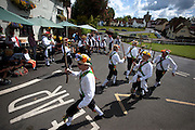 The Thaxted Morris Weekend, Thaxted and surrounding villages, Thaxted, Essex, England. 30 May 2015<br /> Seen here: Woodside side from Watford at the Fox Pub in Finchingfield, north Essex.<br /> 21 teams or 'sides' of Morris Men including teams from Holland , Denmak and Australia danced through the villages such as Finchingfield in rural north Essex during the start of the 345th meeting of the member clubs of the Morris Ring and the 82nd meeting hosted by the Thaxted Morris Men.
