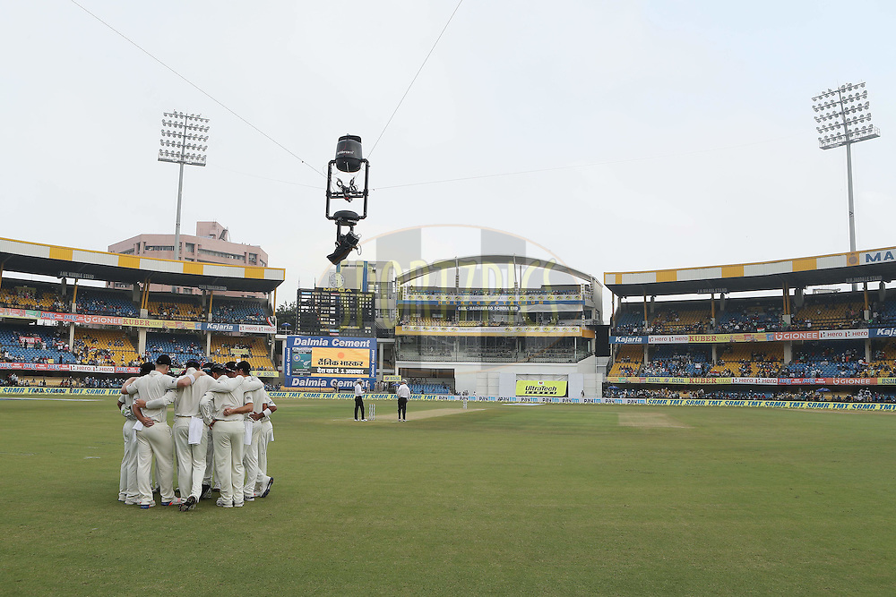 New Zealand team huddle during day 1 of the third test match between India and New Zealand held at the Holkar stadium in Indore on the 8th October 2016.<br /> <br /> Photo by: Ron Gaunt/ BCCI/ SPORTZPICS