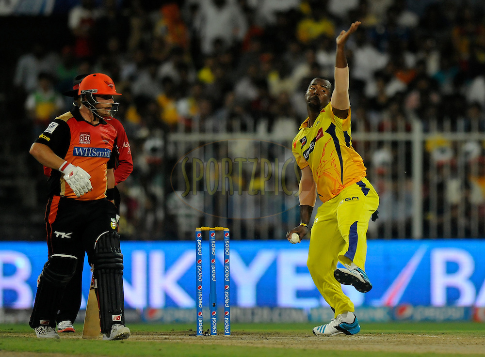 Dwayne Smith of The Chennai Superkings bowls during match 16 of the Pepsi Indian Premier League 2014 between the Delhi Daredevils and the Mumbai Indians held at the Sharjah Cricket Stadium, Sharjah, United Arab Emirates on the 27th April 2014<br /> <br /> Photo by Pal Pillai / IPL / SPORTZPICS