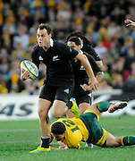Israel Dagg on the Charge for the All Blacks, Rugby Championship. Australia v All Blacks at ANZ Stadium, Sydney, New Zealand. Saturday 18 August 2012. New Zealand. Photo: Richard Hood/photosport.co.nz