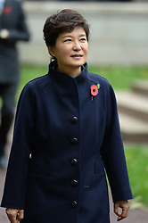 President of the Republic of Korea Her Excellency Park Geun-hye arrives to meet Prince William for a Korean War Memorial Ceremony, at Victoria Embankment Gardens, London, United Kingdom, Tuesday, 5th November 2013. Picture by Andrew Parsons / i-Images