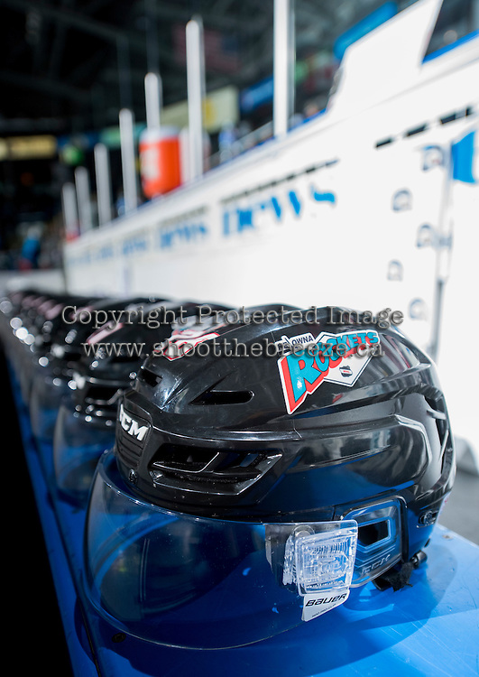 KELOWNA, CANADA - SEPTEMBER 25: The Kelowna Rockets helmets sit on the bench on September 25, 2015 at Prospera Place in Kelowna, British Columbia, Canada.  (Photo by Marissa Baecker/Shoot the Breeze)  *** Local Caption ***